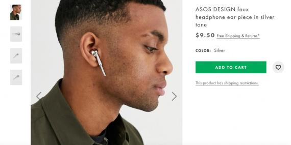 "ASOS is now selling a nonfunctional ""faux headphone ear piece in silver tone."""
