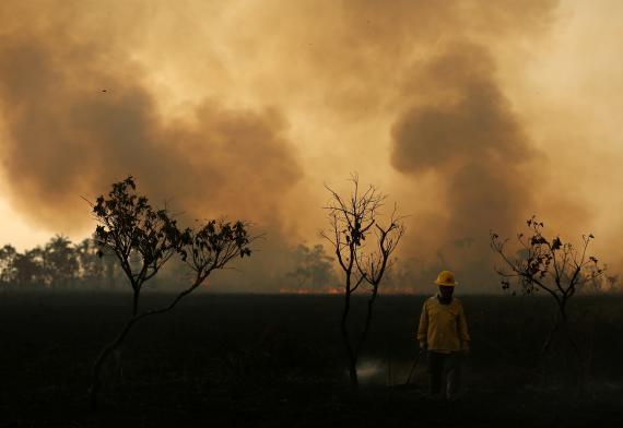 Bomberos tratando de controlar los incendios en el Amazonas