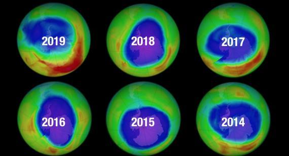 Evolución del agujero en la capa de ozono en el Polo Sur.