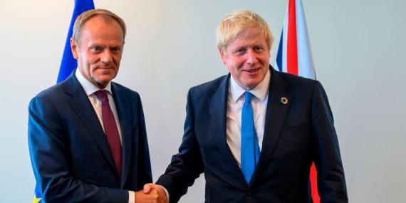 Donald Tusk and Boris Johnson
