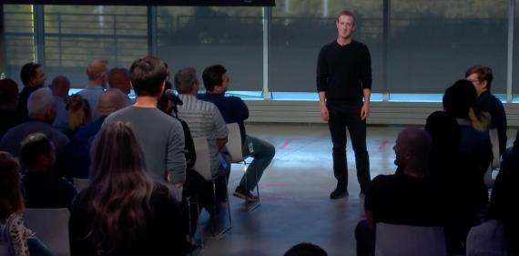 Facebook CEO Mark Zuckerberg answers questions from staff during the company's first-ever livestreamed employee Q&A session on October 3, 2019.
