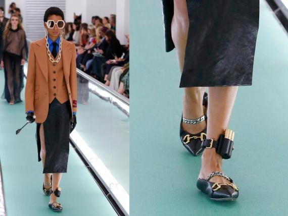 MILÁN, ITALIA – Una modelo camina por la pasarela en el desfile de Gucci en la Milan Fashion Week.