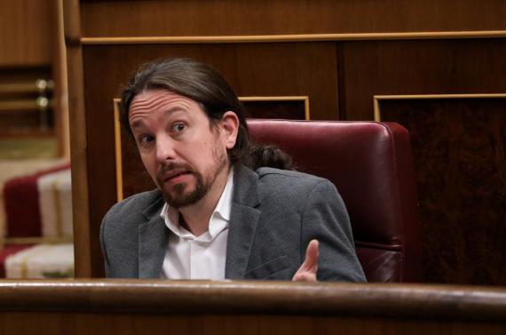 Pablo Iglesias, líder de Unidas Podemos, durante una sesión en el Congreso de los Diputados.