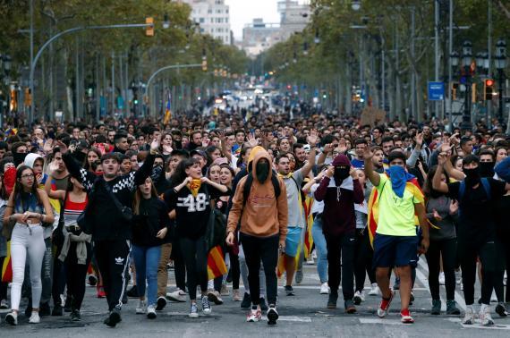 Protestas en Cataluña tras la sentencia del procés.