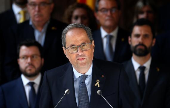 Quim Torra, president de la Generalitat, durante su comparecencia tras conocerse la sentencia del procés.