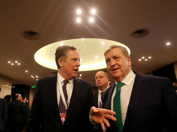 El representante de comercio de EEUU, Robert Lighthizer, y el ministro de Estado de Comercio de la República de Irlanda, Pat Breen.