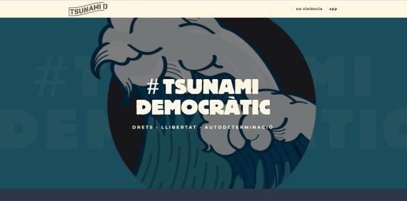 La imagen de la web de Tsunami Democràtic.