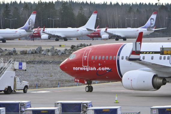 Varios aviones de Norwegian en el aeropuerto de Arlanda, en Estocolmo (Suecia)
