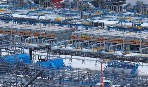 Instalación de procesamiento de gas de Gazprom en el campo de gas de Bovanenkovo, Rusia.