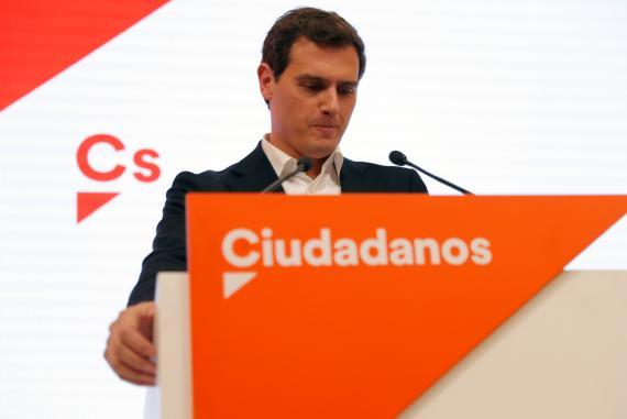 Albert Rivera anuncia en rueda de prensa su dimisión como líder de Ciudadanos.