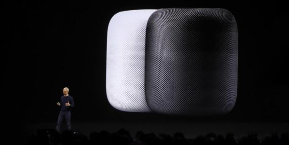 Apple CEO Tim Cook at the HomePod's unveiling during the company's annual WWDC conference.