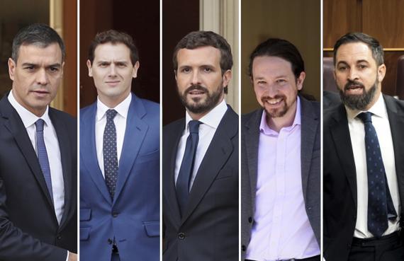Pedro Sánchez (PSOE), Albert Rivera (Ciudadanos), Pablo Casado (PP), Pablo Iglesias (Unidas Podemos) y Santiago Abascal (Vox).