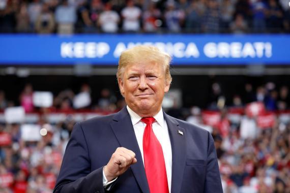 Donald Trump, presidente de los Estados Unidos, durante un mitin electoral para las presidenciales de 2020.
