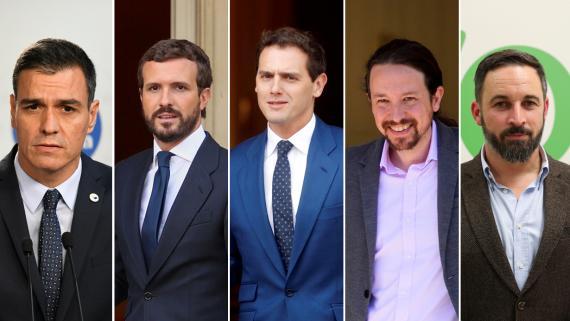 Pedro Sánchez (PSOE), Pablo Casado (PP), Albert Rivera (Ciudadanos), Pablo Iglesias (Unidas Podemos) y Santiago Abascal (Vox).