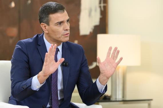 Pedro Sánchez, en una entrevista en la Moncloa.