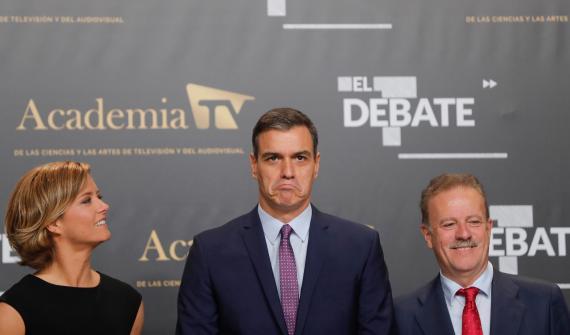 Pedro Sánchez, candidato del PSOE a la presidencia del Gobierno, a su llegada al debate a cinco.