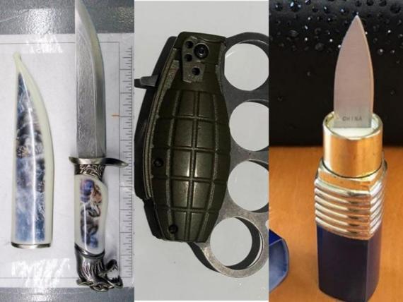 Algunos de los objetos que los pasajeros intentaron llevar a bordo de los aviones.