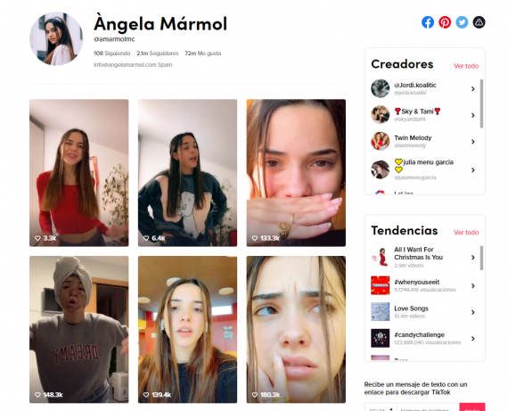 Ángela Mármol, tiktoker de 17 años.