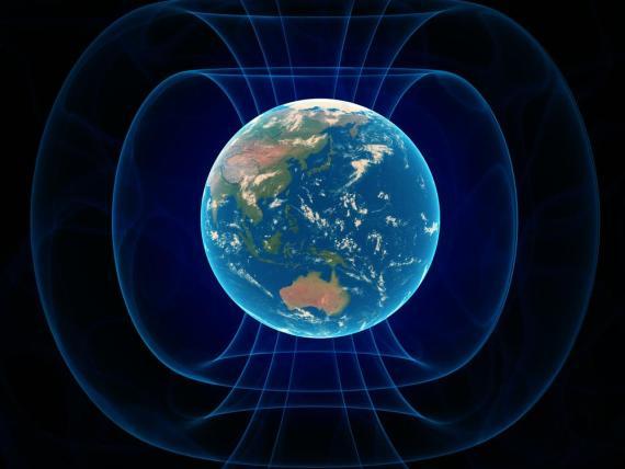 Un concepto artístico del campo magnético de la Tierra.