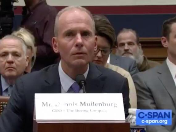 Boeing CEO Dennis Muilenburg in front of Congress.
