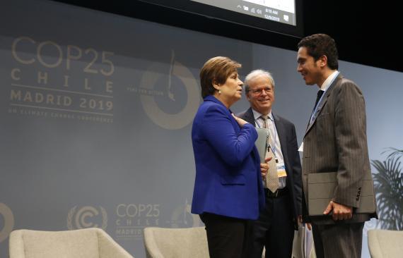 Patricia Espinosa, secretaria ejectuvida de UNFCCC, con Ignacio Briones, ministro de Finanzas de Chile y Mika Lintilä, ministro de Finanzas de Finlandia.