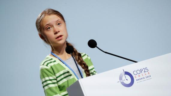 La activista sueca Greta Thunberg, durante su intervención en la Cumbre del Clima de Madrid.