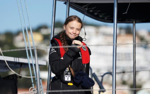 Greta Thunberg llega a Lisboa.