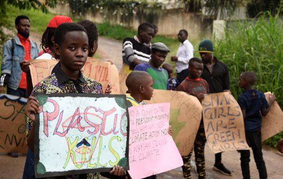 Huelga estudiantil por el clima en Kampala, Uganda.