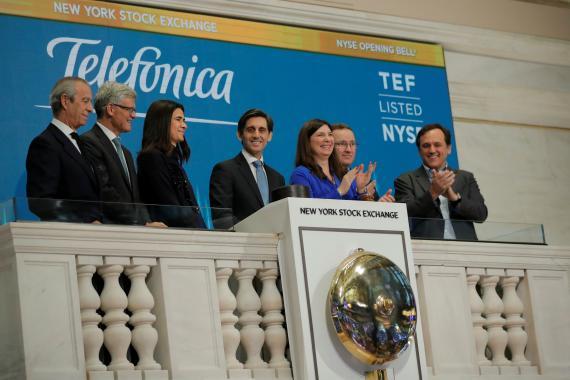 José María Álvarez-Pallete, presidente de Telefónica, en la apertura de Wall Street.