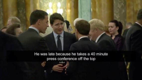 El corrillo de Justin Trudeau, Emmanuel Macron, Boris Johnson y Mark Rutte en la cumbre de la OTAN que provocó la abrupta salida de Trump.