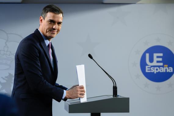 Sánchez, al término del Consejo Europeo.