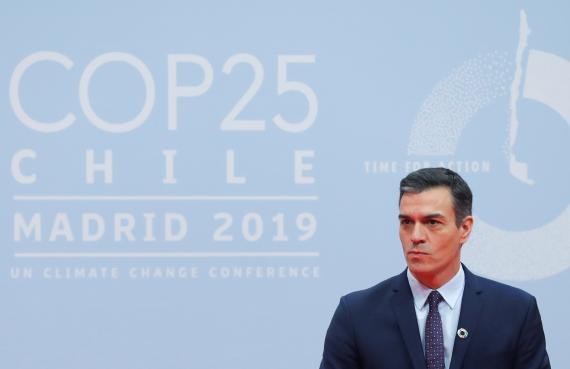 El presidente del Gobierno, Pedro Sánchez, en el primer día de la COP25.