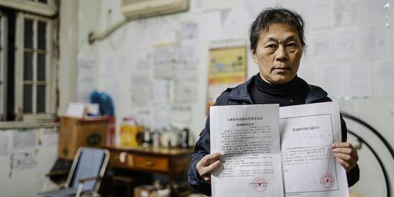 Shen Yongmei, un antiguo prisionero de un campo de trabajo, en Shanghái, China, en noviembre de 2013. No se habla de ella en esta historia.