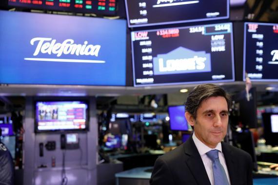 José María Álvarez-Pallete, presidente de Telefónica, en la Bolsa de Nueva York.