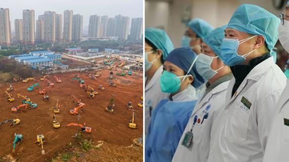 Un montaje que muestra la construcción de un nuevo hospital en Wuhan, China, el 24 de enero de 2020, y el personal médico en otra parte de la ciudad dos días antes.