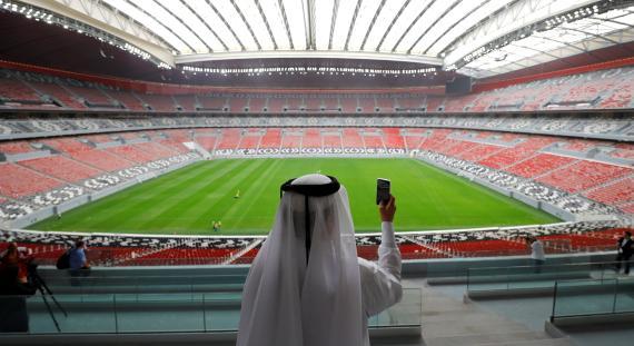 Una vista general del estadio Al Bayt, construido para el próximo Mundial de la FIFA 2022.