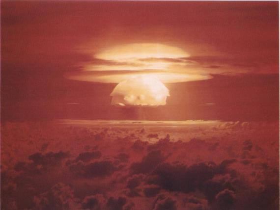 A photo of the US Castle Bravo thermonuclear weapons test in the Pacific Ocean on March 1, 1954.