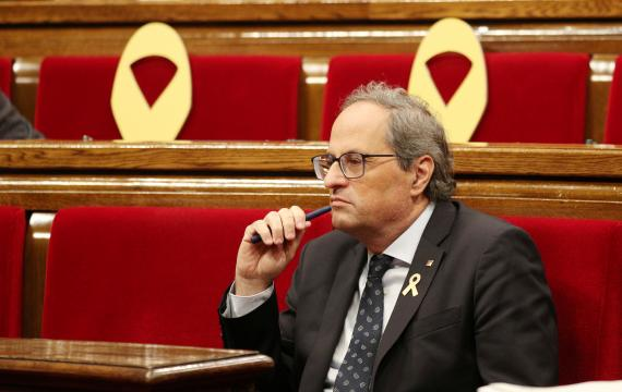 El presidente de la Generalitat, Quim Torra, en una sesión del Parlament.