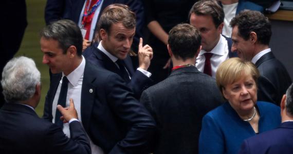 El primer ministro de Portugal, António Costa, el de Grecia, Kiriakos Mitsotakis, el presidente francés, Emmanuel Macron, el primer ministro de Luxemburgo, Xavier Bettel, y la canciller alemana Angela Merkel.