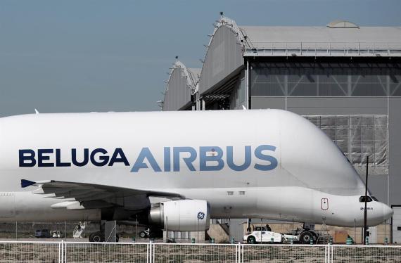 Un avión Beluga de Airbus en la sede de la empresa en Getafe, Madrid.