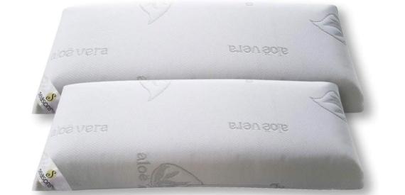 Pack de 2 almohadas viscoelásticas con tejido de aloe vera e hilo de plata