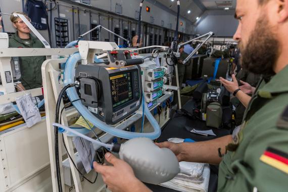 Avión alemán medicalizado en plena pandemia del coronavirus