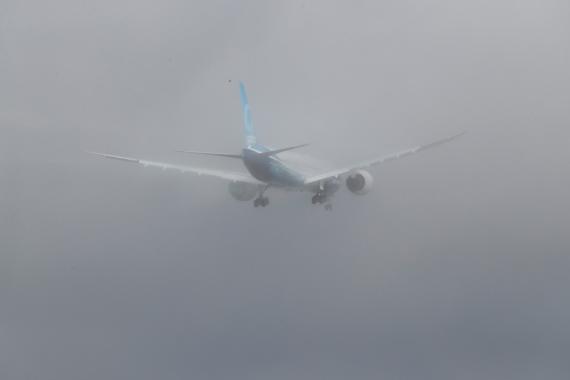 Un Boeing 777X durante unas pruebas en Washington, EEUU.