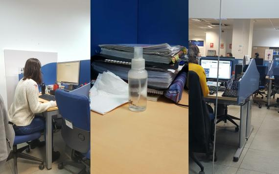 Fotos de un call-center de Madrid durante la alerta sanitaria del coronavirus