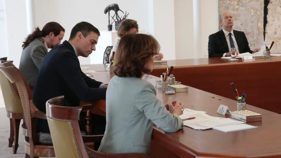 El Consejo de Ministros, reunido para decretar el estado de alerta por el Covid-19.