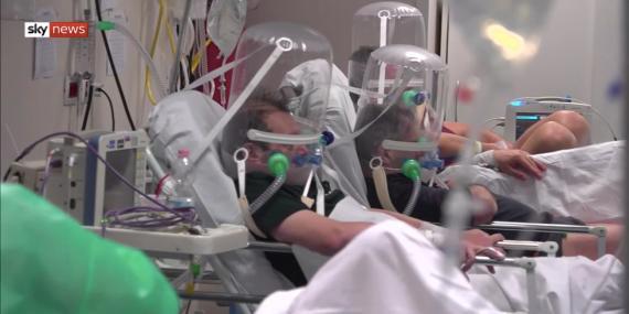 Fotograma de un hospital en Bérgamo, Italia, emitido por Sky News el 19 de marzo.
