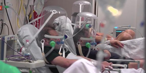 An image from footage inside a hospital in Bergamo, Italy, broadcast by Sky News on Thursday.