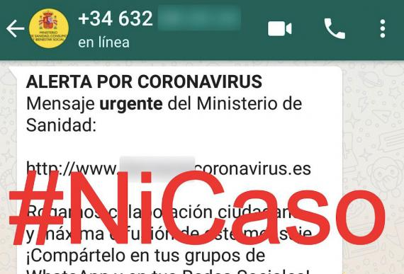 Mensaje WhatsApp falso