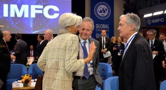 La presidenta del BCE, Christine Lagarde, el gobernador del Banco de Canadá, Stephen Poloz, y el presidente de la Reserva Federal, Jerome Powell