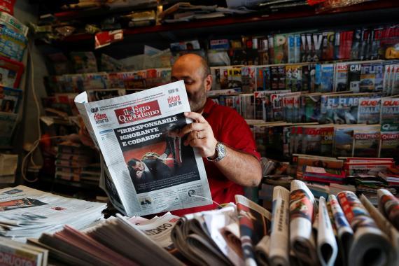 Un quiosco de prensa en Italia